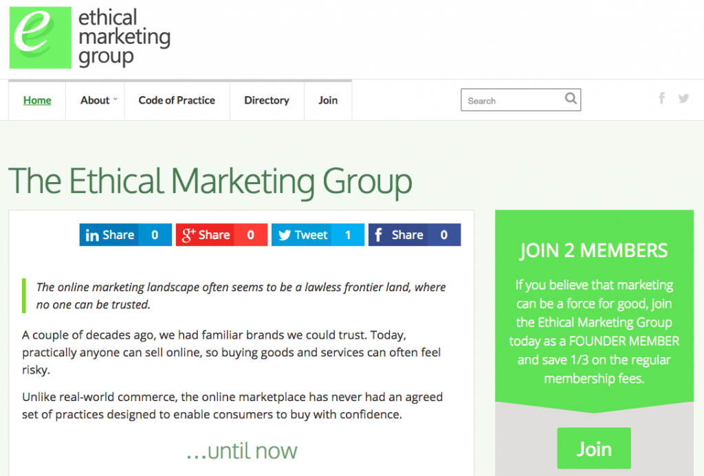 The Ethical Marketing Group website